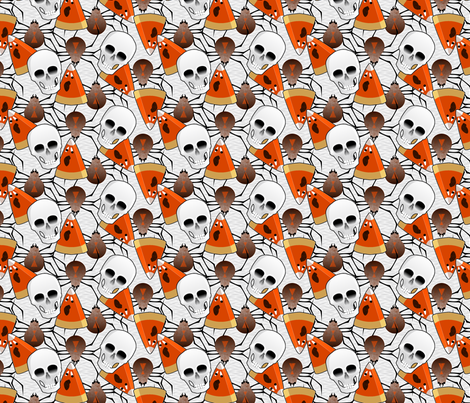 haunted skulls spiders and screaming candy corn ghosts - synergy0008 fabric by glimmericks on Spoonflower - custom fabric