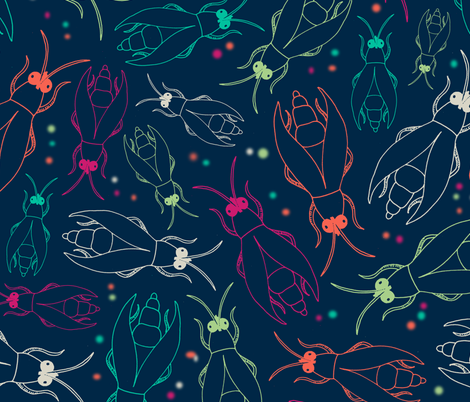 Fireflies_Midnight_Garden fabric by laura_escalante on Spoonflower - custom fabric