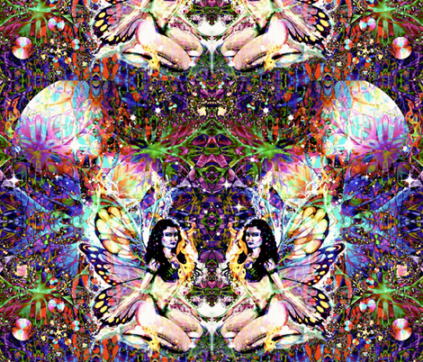 The Firefly Fairies  fabric by whimzwhirled on Spoonflower - custom fabric