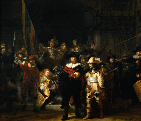 The Nightwatch - Rembrandt van Rijn (1642) fabric by studiofibonacci on Spoonflower - custom fabric