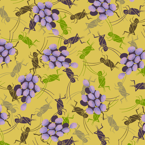 Crickets in the Vinyard fabric by siya on Spoonflower - custom fabric