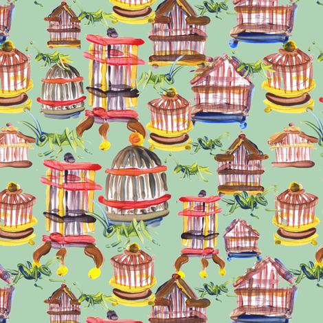 mitties_lo_cricket_cages_repeat fabric by mcuetara on Spoonflower - custom fabric