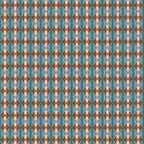Geometric 0195 k1 r1 brown, robins egg blue, pink