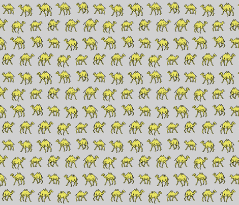 Meandering Camels | Grey fabric by imaginaryanimal on Spoonflower - custom fabric