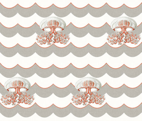 Chevron Waves and Jellyfish fabric by willowlanetextiles on Spoonflower - custom fabric