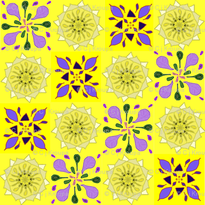 Yellow and Lavender Quilt