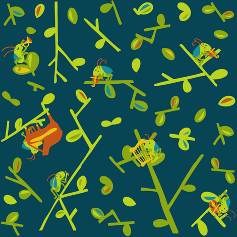 a cricket orchestra fabric by momshoo on Spoonflower - custom fabric