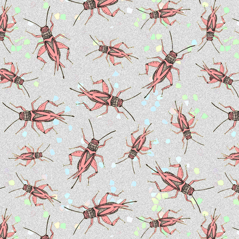 Crickets on confettis fabric by lucybaribeau on Spoonflower - custom fabric