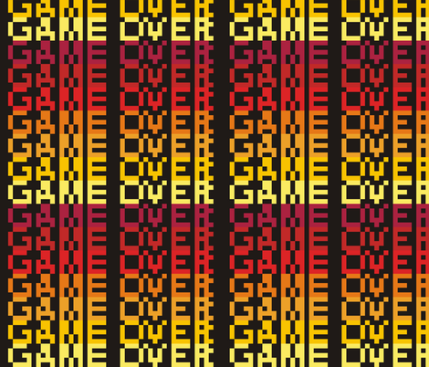 8-bit Game Over Firey fabric by smuk on Spoonflower - custom fabric