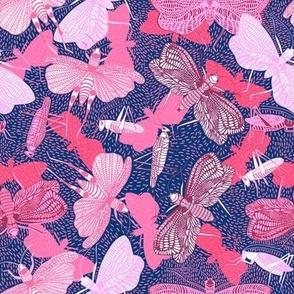 violet & pink cricket  ditsy