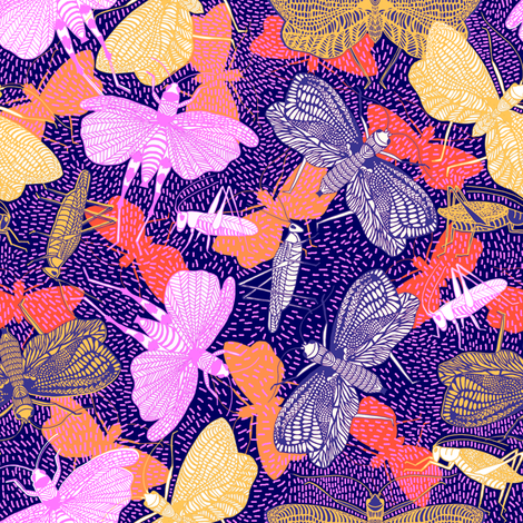 Cricket Grasshopper Ditsy fabric by rubydoor on Spoonflower - custom fabric