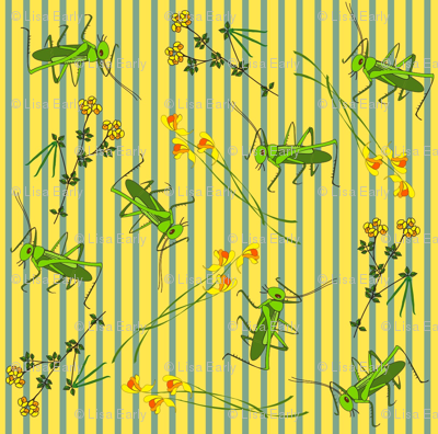 Wildflowers and Crickets on stripes