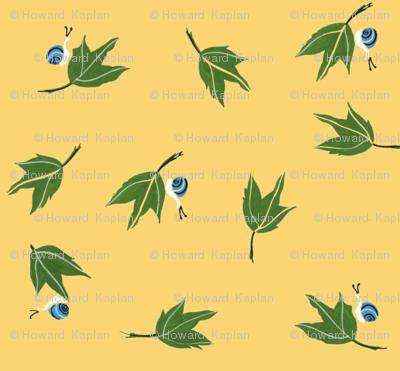 Oak Leaves and Blue Snails on Light Gold