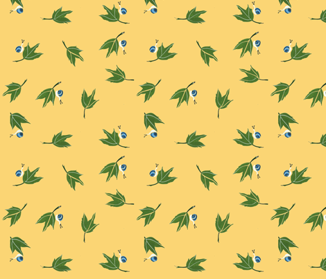 Oak Leaves and Blue Snails on Light Gold  fabric by htsvik on Spoonflower - custom fabric