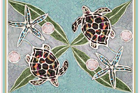 Sea Turtles & Kelp Batik fabric by lauriekentdesigns on Spoonflower - custom fabric