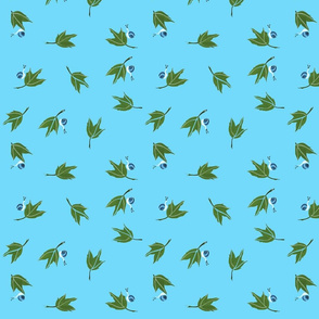 Oak leaves with Blue Snail on Blue Background