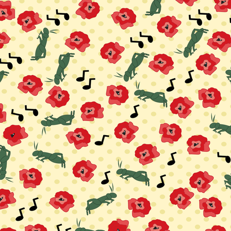 Cricket Concert In Poppy Park fabric by woolboxstudio on Spoonflower - custom fabric