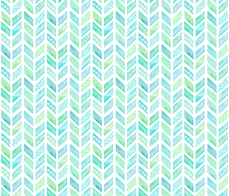 Watercolor Herringbone in Blue and Green fabric by emilysanford on Spoonflower - custom fabric