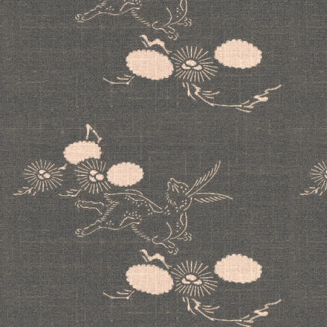 woodland hare - dark grey and pink fabric by materialsgirl on Spoonflower - custom fabric