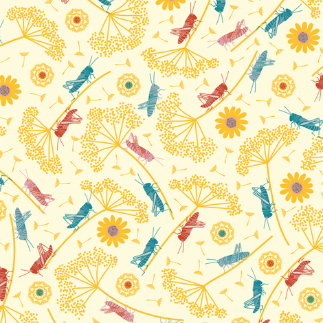 happy ditsy crickets fabric by gracedesign on Spoonflower - custom fabric