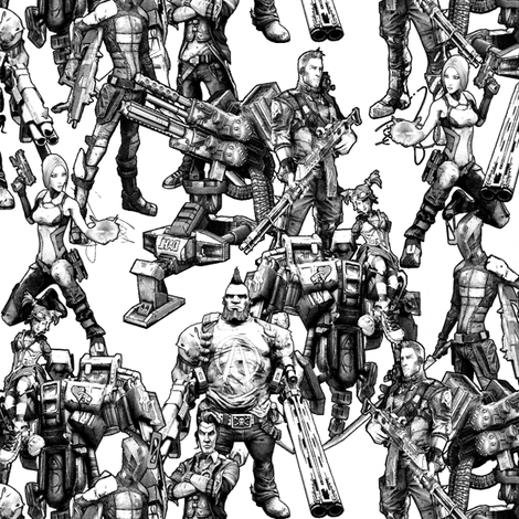 Borderlands 2 Vault Hunters fabric by the_little_one on Spoonflower - custom fabric