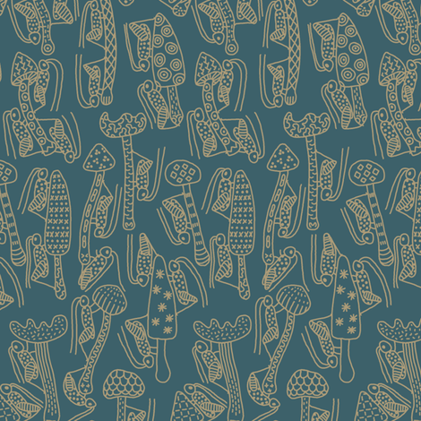 Crickets and Mushrooms fabric by mongiesama on Spoonflower - custom fabric