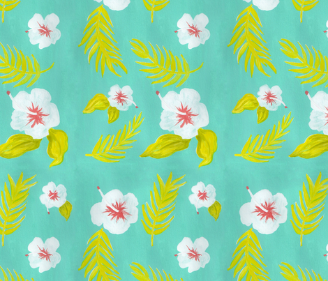 Hawaiian Hibiscus Pattern fabric by mayabeeillustrations on Spoonflower - custom fabric
