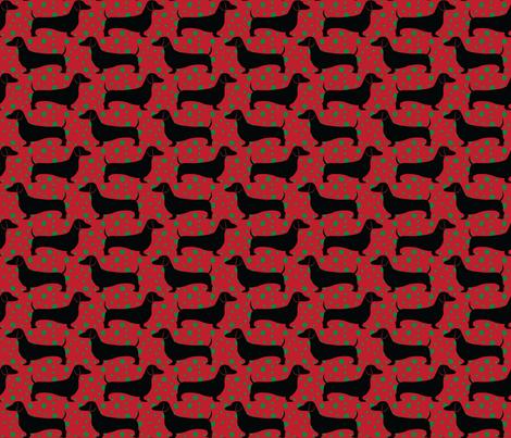 Polka Dachshunds (Christmas Red) fabric by robyriker on Spoonflower - custom fabric