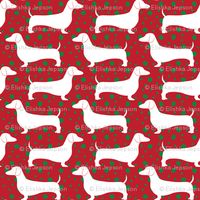 Polka Dachshunds (Christmas Red)