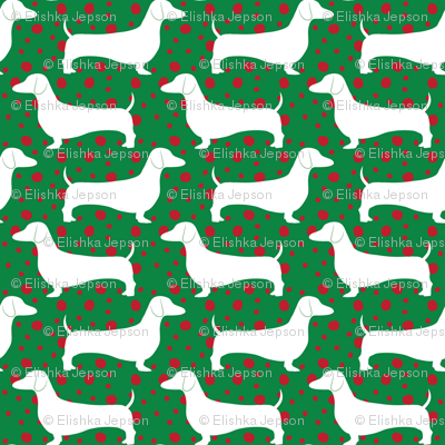 Polka Dachshunds (Christmas Green)