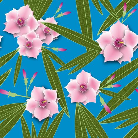 Pink Oleander fabric by vannina on Spoonflower - custom fabric