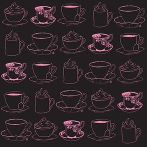 Teacups and saucers charcoal and pink