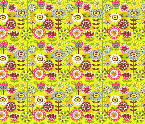 Retro summer flowers fabric by irrimiri on Spoonflower - custom fabric