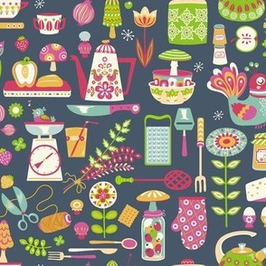 Kitchen Utensils Wallpaper kitchen fabric, wallpaper & gift wrap - spoonflower