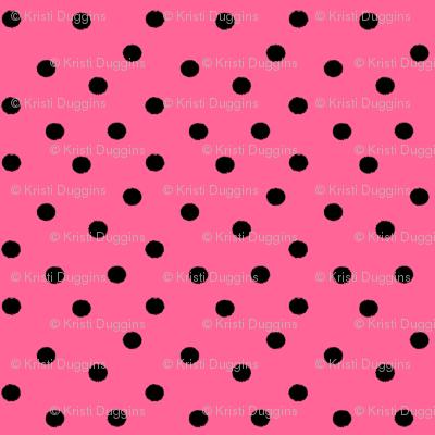 Boho Dots | Black Spots on Bubblegum Pink