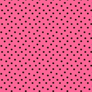 Boho Dots | Black Spots on Bubblegum Pink