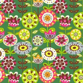 Retro summer flowers - green