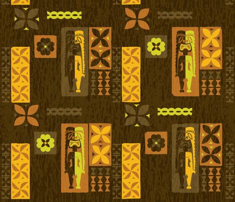 Mid-century Tikis 6a fabric by muhlenkott on Spoonflower - custom fabric