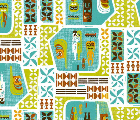 Mid-century Tikis 4a fabric by muhlenkott on Spoonflower - custom fabric