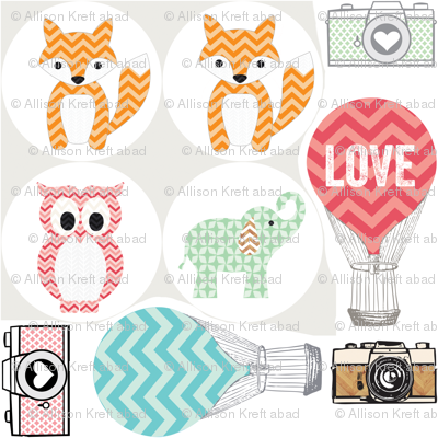 8x8 Swatch animals for appliqué