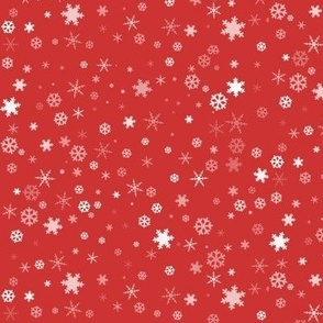 White Snowflakes on Red Background