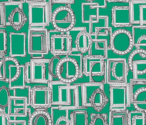 picture frames aplenty green fabric by scrummy on Spoonflower - custom fabric