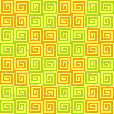 Interlocking Spirals - Yellow