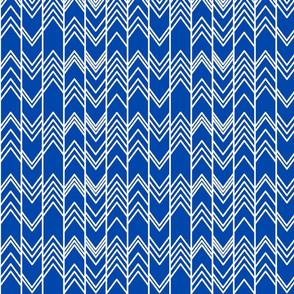 Cobalt Blue Ikat Ziggy - Chevron Herringbone