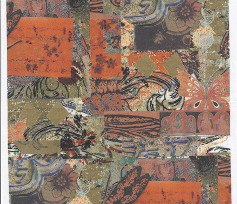 Rust Gold and Blue Grey Asian and Insect Collage