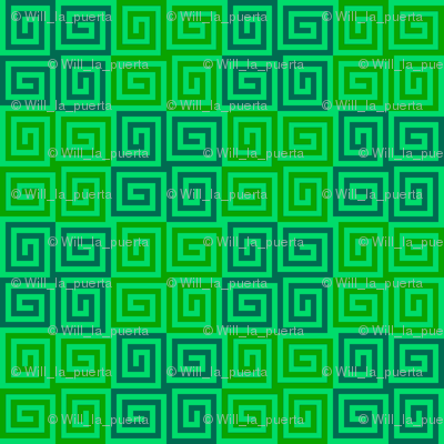 Interlocking Spirals - Green