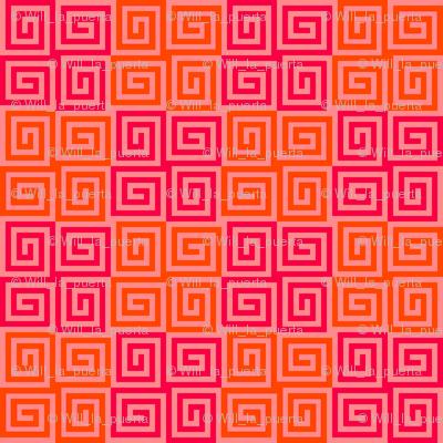 Interlocking Spirals - Red