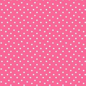 Boho Dots | White Spots on Bubblegum Pink