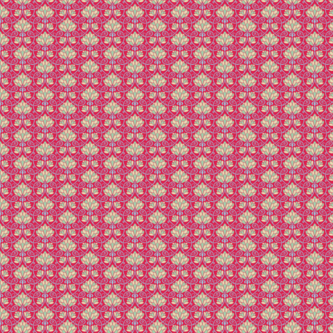 Lotus - red, blue and green - SMALL PATTERN fabric by elizabethp on Spoonflower - custom fabric
