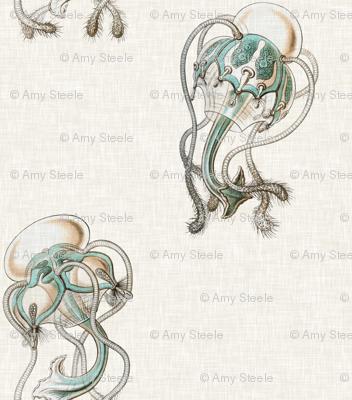 Aquamarine Jellyfish in Aquamarine and Linen
